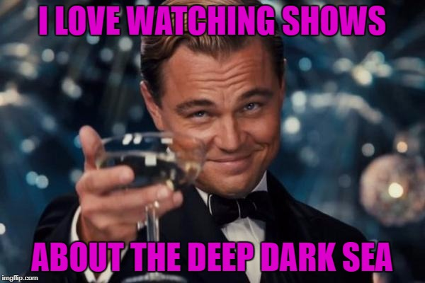Leonardo Dicaprio Cheers Meme | I LOVE WATCHING SHOWS ABOUT THE DEEP DARK SEA | image tagged in memes,leonardo dicaprio cheers | made w/ Imgflip meme maker