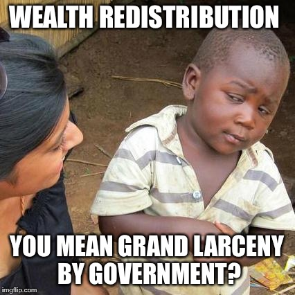 Third World Skeptical Kid Meme | WEALTH REDISTRIBUTION YOU MEAN GRAND LARCENY BY GOVERNMENT? | image tagged in memes,third world skeptical kid | made w/ Imgflip meme maker
