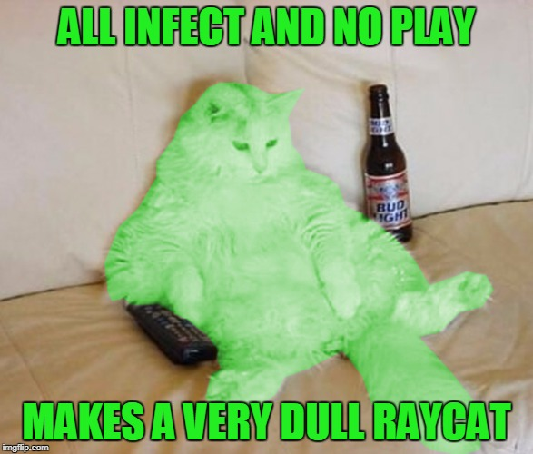 RayCat Chillin' | ALL INFECT AND NO PLAY MAKES A VERY DULL RAYCAT | image tagged in raycat chillin' | made w/ Imgflip meme maker
