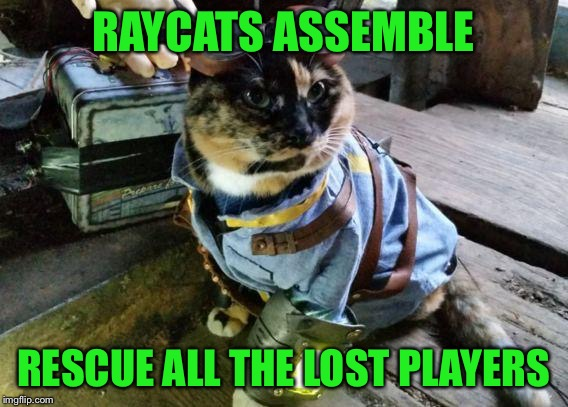 Fallout RayCat | RAYCATS ASSEMBLE RESCUE ALL THE LOST PLAYERS | image tagged in fallout raycat | made w/ Imgflip meme maker