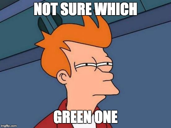Futurama Fry Meme | NOT SURE WHICH GREEN ONE | image tagged in memes,futurama fry | made w/ Imgflip meme maker