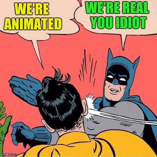 WE'RE ANIMATED WE'RE REAL YOU IDIOT | made w/ Imgflip meme maker