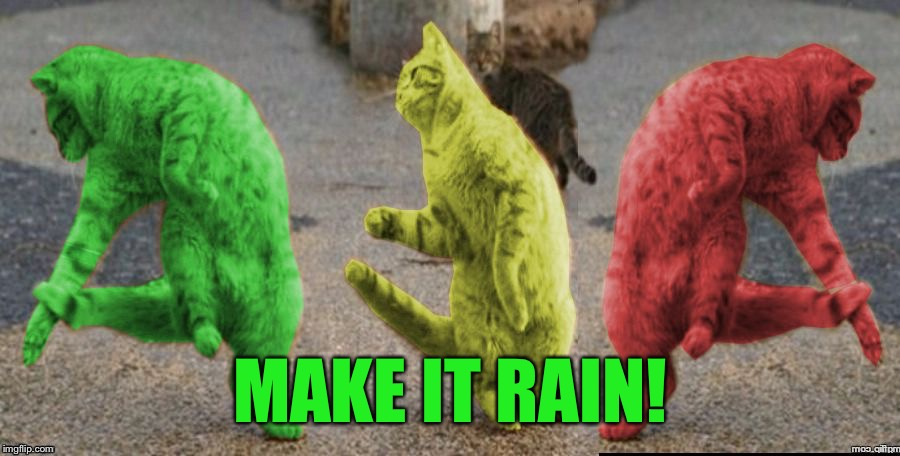 Three Dancing RayCats | MAKE IT RAIN! | image tagged in three dancing raycats | made w/ Imgflip meme maker