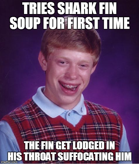 Bad Luck Brian Meme | TRIES SHARK FIN SOUP FOR FIRST TIME THE FIN GET LODGED IN HIS THROAT SUFFOCATING HIM | image tagged in memes,bad luck brian | made w/ Imgflip meme maker
