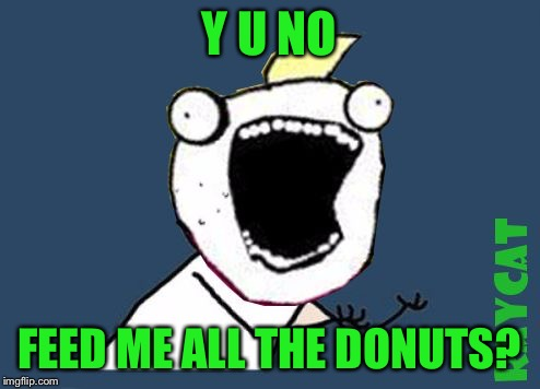 Y U No X All The Y | Y U NO FEED ME ALL THE DONUTS? | image tagged in y u no x all the y | made w/ Imgflip meme maker