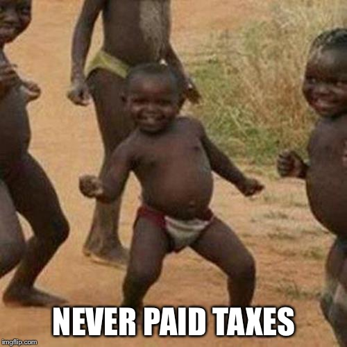 Third World Success Kid Meme | NEVER PAID TAXES | image tagged in memes,third world success kid | made w/ Imgflip meme maker
