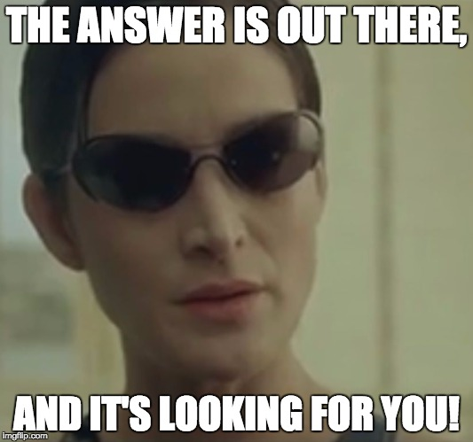 trinity matrix | THE ANSWER IS OUT THERE, AND IT'S LOOKING FOR YOU! | image tagged in trinity matrix | made w/ Imgflip meme maker