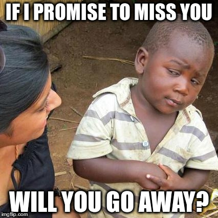 Third World Skeptical Kid Meme | IF I PROMISE TO MISS YOU WILL YOU GO AWAY? | image tagged in memes,third world skeptical kid | made w/ Imgflip meme maker