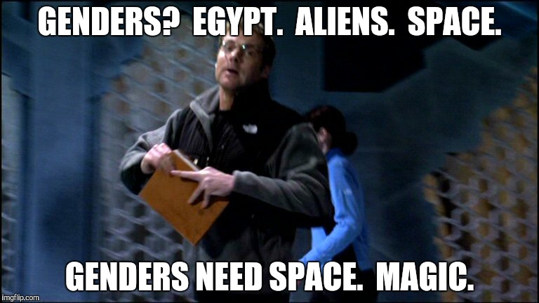 GENDERS?  EGYPT.  ALIENS.  SPACE. GENDERS NEED SPACE.  MAGIC. | made w/ Imgflip meme maker