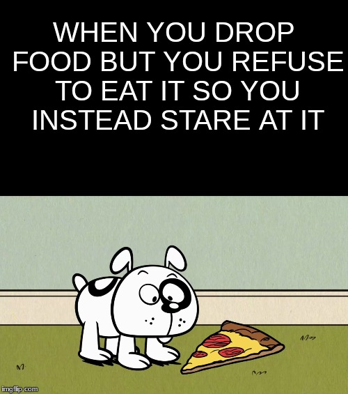 Germs | WHEN YOU DROP FOOD BUT YOU REFUSE TO EAT IT SO YOU INSTEAD STARE AT IT | image tagged in the loud house,pizza,floor | made w/ Imgflip meme maker