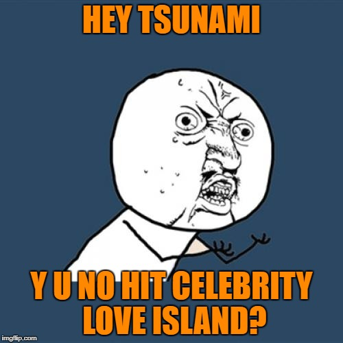 @ Tsunami | HEY TSUNAMI Y U NO HIT CELEBRITY LOVE ISLAND? | image tagged in memes,y u no,reality tv | made w/ Imgflip meme maker