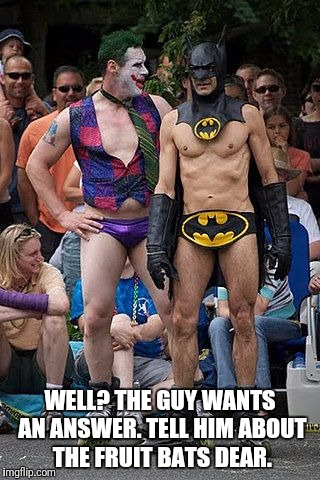 WELL? THE GUY WANTS AN ANSWER. TELL HIM ABOUT THE FRUIT BATS DEAR. | made w/ Imgflip meme maker