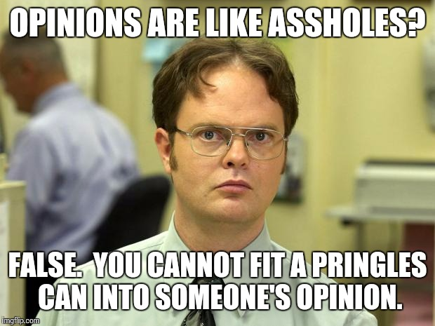 Naughty Dwight | OPINIONS ARE LIKE ASSHOLES? FALSE.  YOU CANNOT FIT A PRINGLES CAN INTO SOMEONE'S OPINION. | image tagged in dwight schrute,sex,anal,memes | made w/ Imgflip meme maker