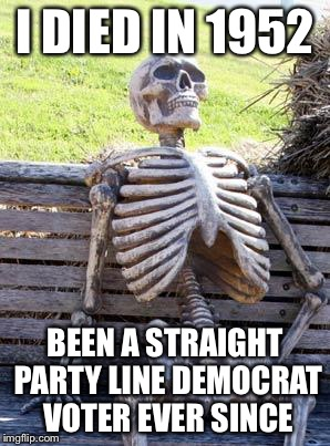 Waiting Skeleton Meme | I DIED IN 1952 BEEN A STRAIGHT PARTY LINE DEMOCRAT VOTER EVER SINCE | image tagged in memes,waiting skeleton | made w/ Imgflip meme maker