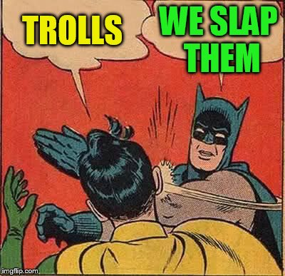 Batman Slapping Robin Meme | TROLLS WE SLAP THEM | image tagged in memes,batman slapping robin | made w/ Imgflip meme maker