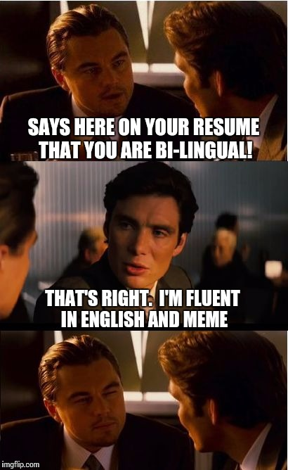 Fluent in Meme?  Memish?  Memese? | SAYS HERE ON YOUR RESUME THAT YOU ARE BI-LINGUAL! THAT'S RIGHT.  I'M FLUENT IN ENGLISH AND MEME | image tagged in memes,inception,memes about memes,language | made w/ Imgflip meme maker