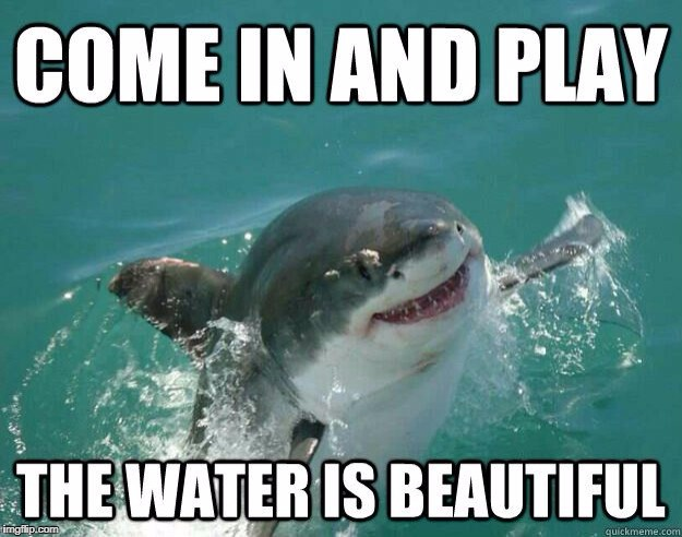 Shark week, a Raydog and Discovery Channel Event | COME IN AND PLAY THE WATER IS BEAUTIFUL | image tagged in shark week,raydog,the water is beautiful | made w/ Imgflip meme maker
