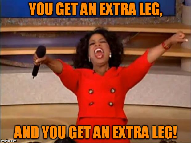 Oprah You Get A Meme | YOU GET AN EXTRA LEG, AND YOU GET AN EXTRA LEG! | image tagged in memes,oprah you get a | made w/ Imgflip meme maker