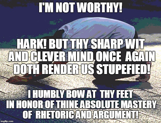 I'M NOT WORTHY! I HUMBLY BOW AT  THY FEET IN HONOR OF THINE ABSOLUTE MASTERY OF  RHETORIC AND ARGUMENT! HARK! BUT THY SHARP WIT AND CLEVER M | made w/ Imgflip meme maker