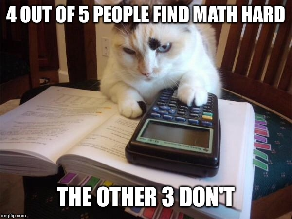 Math cat | 4 OUT OF 5 PEOPLE FIND MATH HARD THE OTHER 3 DON'T | image tagged in math cat | made w/ Imgflip meme maker