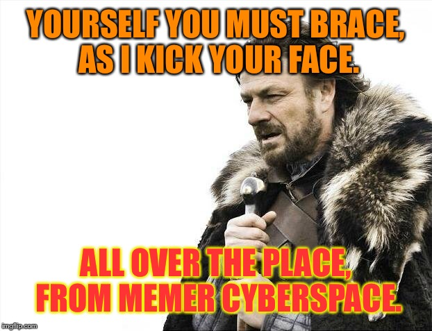 Whatever the case. | YOURSELF YOU MUST BRACE, AS I KICK YOUR FACE. ALL OVER THE PLACE, FROM MEMER CYBERSPACE. | image tagged in memes,brace yourselves x is coming,kick,narfle the garthocke,hee haw,mongo | made w/ Imgflip meme maker