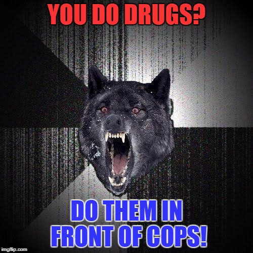 Insanity Wolf Meme | YOU DO DRUGS? DO THEM IN FRONT OF COPS! | image tagged in memes,insanity wolf | made w/ Imgflip meme maker