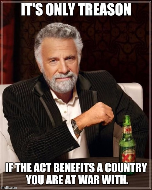 The Most Interesting Man In The World Meme | IT'S ONLY TREASON IF THE ACT BENEFITS A COUNTRY YOU ARE AT WAR WITH. | image tagged in memes,the most interesting man in the world | made w/ Imgflip meme maker