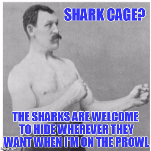 SHARK CAGE? THE SHARKS ARE WELCOME TO HIDE WHEREVER THEY WANT WHEN I'M ON THE PROWL | made w/ Imgflip meme maker