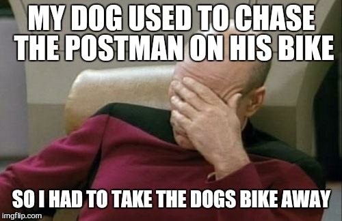 Captain Picard Facepalm Meme | MY DOG USED TO CHASE THE POSTMAN ON HIS BIKE SO I HAD TO TAKE THE DOGS BIKE AWAY | image tagged in memes,captain picard facepalm | made w/ Imgflip meme maker