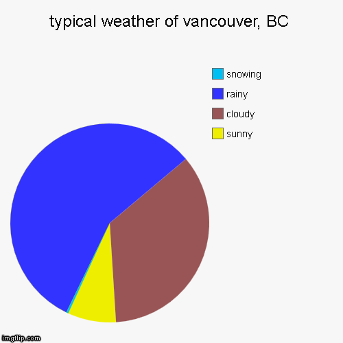 typical weather of vancouver, BC | sunny, cloudy, rainy, snowing | image tagged in funny,pie charts | made w/ Imgflip pie chart maker