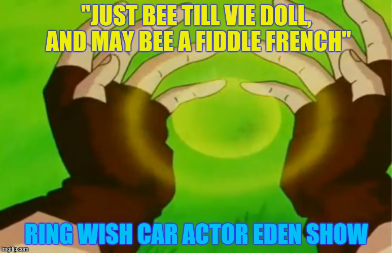 """JUST BEE TILL VIE DOLL, AND MAY BEE A FIDDLE FRENCH"" RING WISH CAR ACTOR EDEN SHOW 