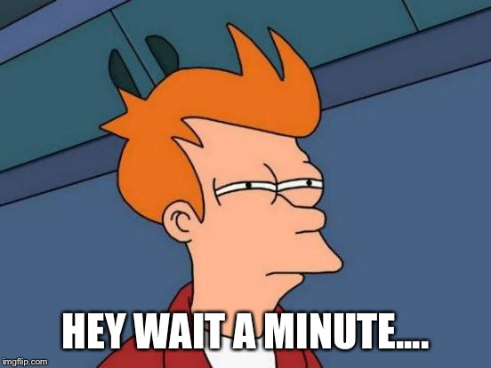 Futurama Fry Meme | HEY WAIT A MINUTE.... | image tagged in memes,futurama fry | made w/ Imgflip meme maker