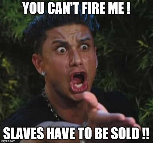 An oldie, but a goodie | YOU CAN'T FIRE ME ! SLAVES HAVE TO BE SOLD !! | image tagged in memes,dj pauly d | made w/ Imgflip meme maker