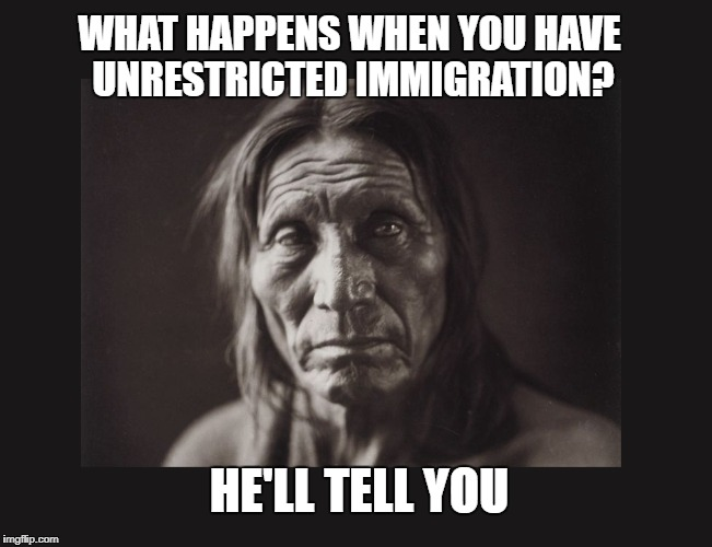 unrestricted immigration | WHAT HAPPENS WHEN YOU HAVE UNRESTRICTED IMMIGRATION? HE'LL TELL YOU | image tagged in immigration,illegal immigration,native american | made w/ Imgflip meme maker