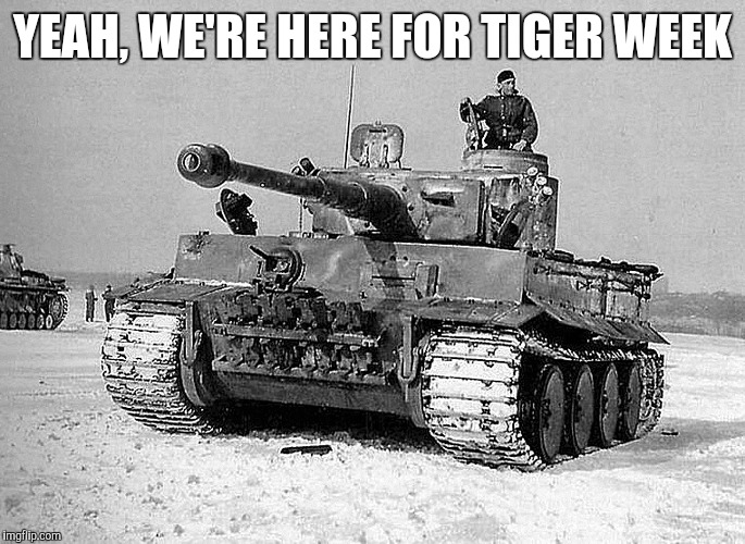 Only those who know WW2 weaponry will get this one lol | YEAH, WE'RE HERE FOR TIGER WEEK | image tagged in jbmemegeek,tiger week,tiger tank,ww2,nazis | made w/ Imgflip meme maker