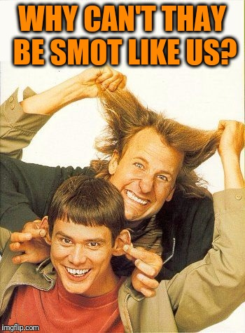 DUMB and dumber | WHY CAN'T THAY BE SMOT LIKE US? | image tagged in dumb and dumber | made w/ Imgflip meme maker