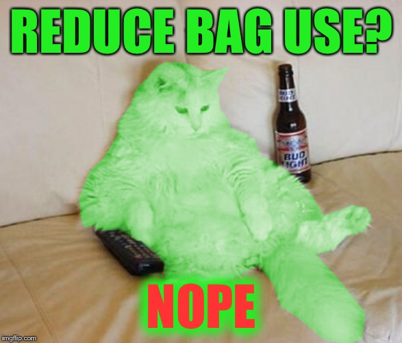 RayCat Chillin' | REDUCE BAG USE? NOPE | image tagged in raycat chillin' | made w/ Imgflip meme maker