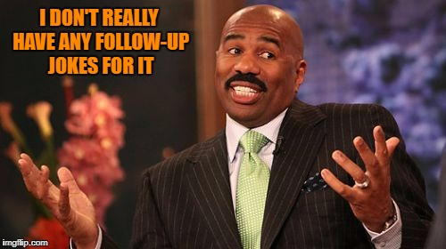 Steve Harvey Meme | I DON'T REALLY HAVE ANY FOLLOW-UP JOKES FOR IT | image tagged in memes,steve harvey | made w/ Imgflip meme maker