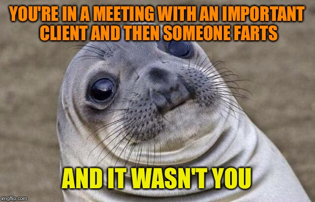Awkward Moment Sealion Meme | YOU'RE IN A MEETING WITH AN IMPORTANT CLIENT AND THEN SOMEONE FARTS AND IT WASN'T YOU | image tagged in memes,awkward moment sealion | made w/ Imgflip meme maker