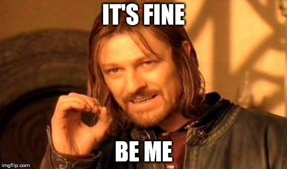 One Does Not Simply Meme | IT'S FINE BE ME | image tagged in memes,one does not simply | made w/ Imgflip meme maker
