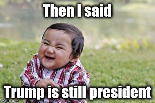 Evil Toddler Meme | Then I said Trump is still president | image tagged in memes,evil toddler | made w/ Imgflip meme maker
