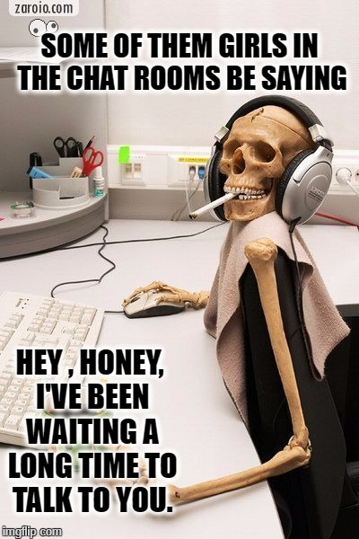 SOME OF THEM GIRLS IN THE CHAT ROOMS BE SAYING HEY , HONEY, I'VE BEEN WAITING A LONG TIME TO TALK TO YOU. | image tagged in calavera sexy | made w/ Imgflip meme maker