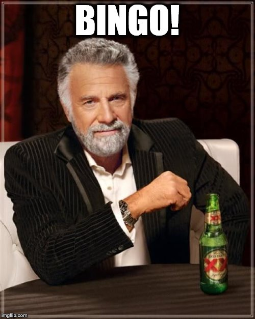 The Most Interesting Man In The World Meme | BINGO! | image tagged in memes,the most interesting man in the world | made w/ Imgflip meme maker