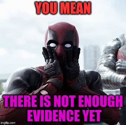YOU MEAN THERE IS NOT ENOUGH EVIDENCE YET | made w/ Imgflip meme maker