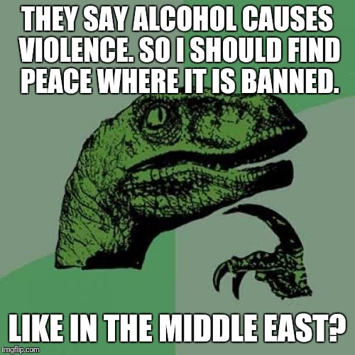 Philosoraptor Meme | THEY SAY ALCOHOL CAUSES VIOLENCE. SO I SHOULD FIND PEACE WHERE IT IS BANNED. LIKE IN THE MIDDLE EAST? | image tagged in memes,philosoraptor | made w/ Imgflip meme maker