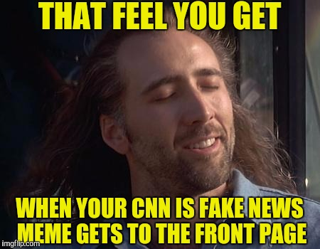 Nick Caged Bird Sings | THAT FEEL YOU GET WHEN YOUR CNN IS FAKE NEWS MEME GETS TO THE FRONT PAGE | image tagged in nick caged bird sings | made w/ Imgflip meme maker