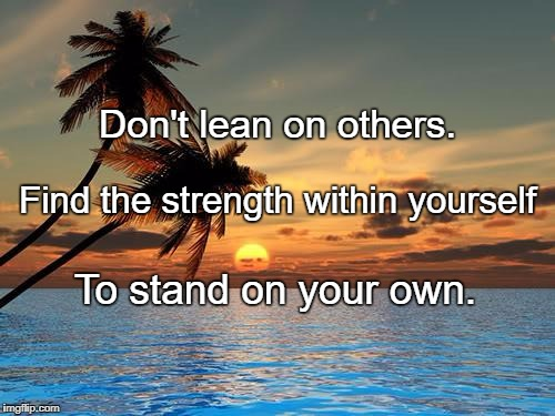 Palm trees, sunset | Don't lean on others. To stand on your own. Find the strength within yourself | image tagged in palm trees,sunset | made w/ Imgflip meme maker