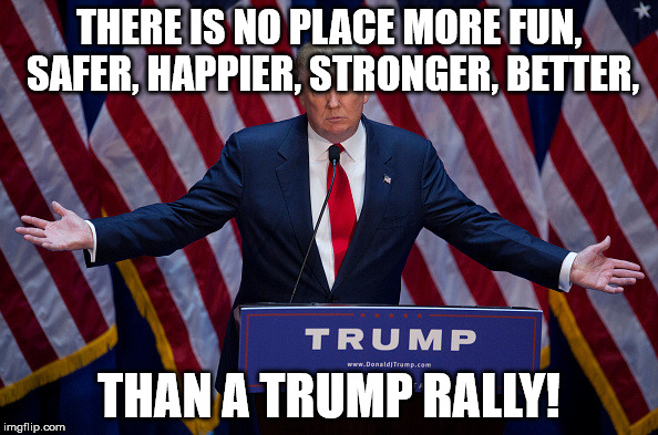 Donald Trump | THERE IS NO PLACE MORE FUN, SAFER, HAPPIER, STRONGER, BETTER, THAN A TRUMP RALLY! | image tagged in donald trump | made w/ Imgflip meme maker
