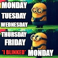 Relatable as fuck | MONDAY TUESDAY WEDNESDAY THURSDAY FRIDAY *I BLINKED* MONDAY | image tagged in minions sad,memes,funny,days of our lives,minions,monday | made w/ Imgflip meme maker