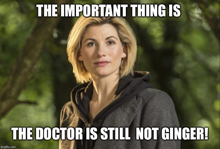 THE IMPORTANT THING IS THE DOCTOR IS STILL  NOT GINGER! | image tagged in female doctor who | made w/ Imgflip meme maker